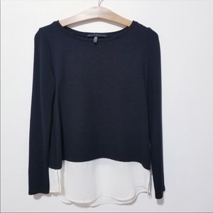 WHBM Color Block Knitted Long Sleeves Blouse